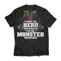 Viking, Norse, Gym t-shirt & apparel, I'm Not The Hero You Wanted, BackApparel[Heathen By Nature authentic Viking products]Next Level Premium Short Sleeve T-ShirtBlackX-Small