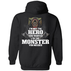 Viking, Norse, Gym t-shirt & apparel, I'm Not The Hero You Wanted, BackApparel[Heathen By Nature authentic Viking products]Unisex Pullover HoodieBlackS
