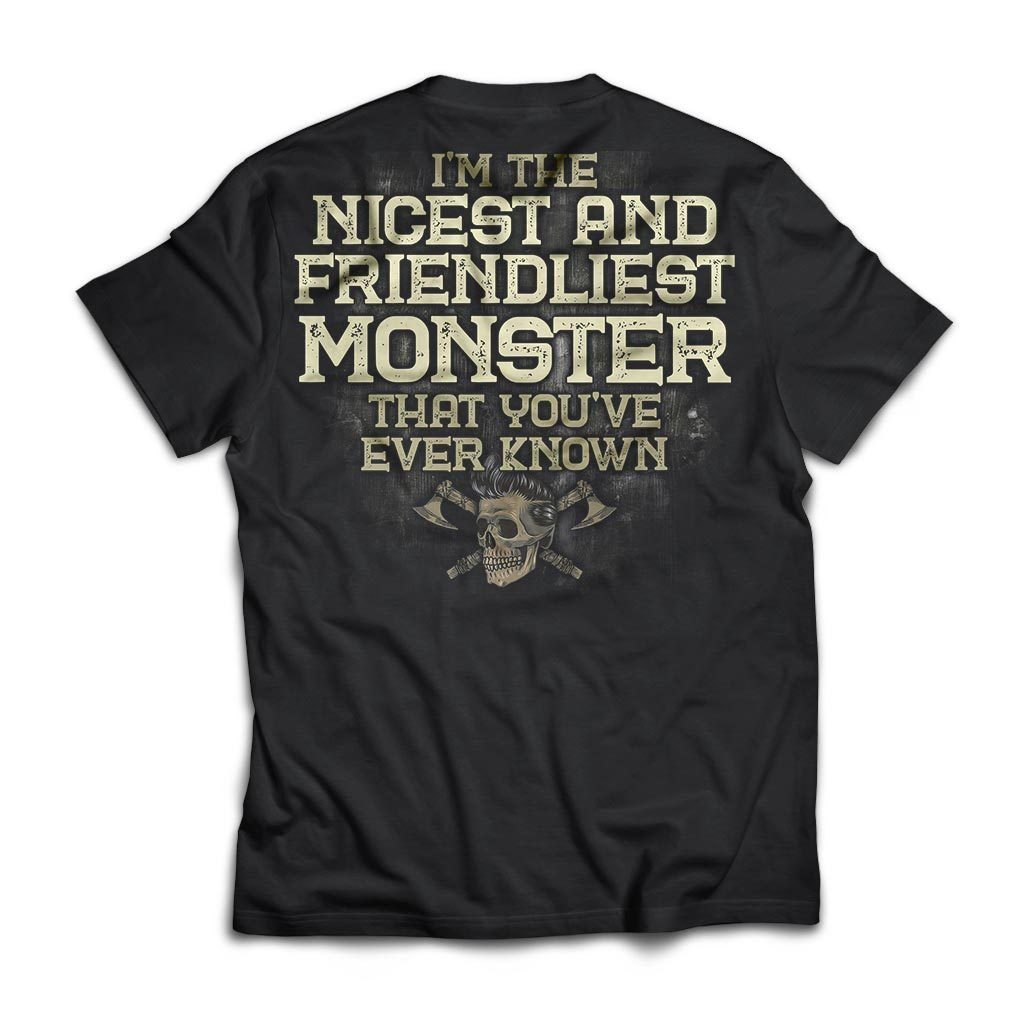 Viking, Norse, Gym t-shirt & apparel, I'm the nicest and friendliest Monster, BackApparel[Heathen By Nature authentic Viking products]Next Level Premium Short Sleeve T-ShirtBlackX-Small