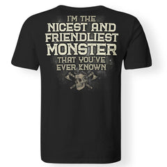 Viking, Norse, Gym t-shirt & apparel, I'm the nicest and friendliest Monster, BackApparel[Heathen By Nature authentic Viking products]Premium Men T-ShirtBlackS
