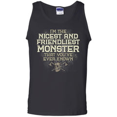 Viking, Norse, Gym t-shirt & apparel, I'm the nicest and friendliest Monster, FrontApparel[Heathen By Nature authentic Viking products]Cotton Tank TopBlackS