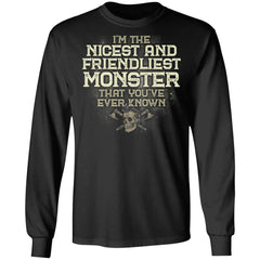 Viking, Norse, Gym t-shirt & apparel, I'm the nicest and friendliest Monster, FrontApparel[Heathen By Nature authentic Viking products]Long-Sleeve Ultra Cotton T-ShirtBlackS