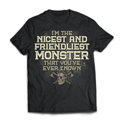 Viking, Norse, Gym t-shirt & apparel, I'm the nicest and friendliest Monster, FrontApparel[Heathen By Nature authentic Viking products]Next Level Premium Short Sleeve T-ShirtBlackX-Small