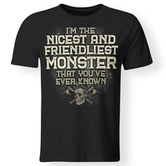 Viking, Norse, Gym t-shirt & apparel, I'm the nicest and friendliest Monster, FrontApparel[Heathen By Nature authentic Viking products]Premium Men T-ShirtBlackS