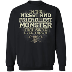 Viking, Norse, Gym t-shirt & apparel, I'm the nicest and friendliest Monster, FrontApparel[Heathen By Nature authentic Viking products]Unisex Crewneck Pullover Sweatshirt 8 oz.BlackS