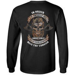 Viking, Norse, Gym t-shirt & apparel, Insult Me, BackApparel[Heathen By Nature authentic Viking products]Long-Sleeve Ultra Cotton T-ShirtBlackS