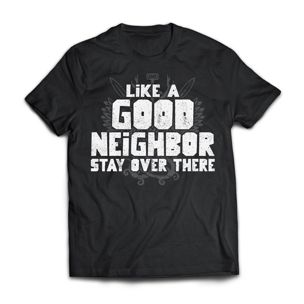 Viking, Norse, Gym t-shirt & apparel, Like a good neighbor, FrontApparel[Heathen By Nature authentic Viking products]Next Level Premium Short Sleeve T-ShirtBlackX-Small