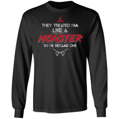 Viking, Norse, Gym t-shirt & apparel, Like a Monster, FrontApparel[Heathen By Nature authentic Viking products]Long-Sleeve Ultra Cotton T-ShirtBlackS