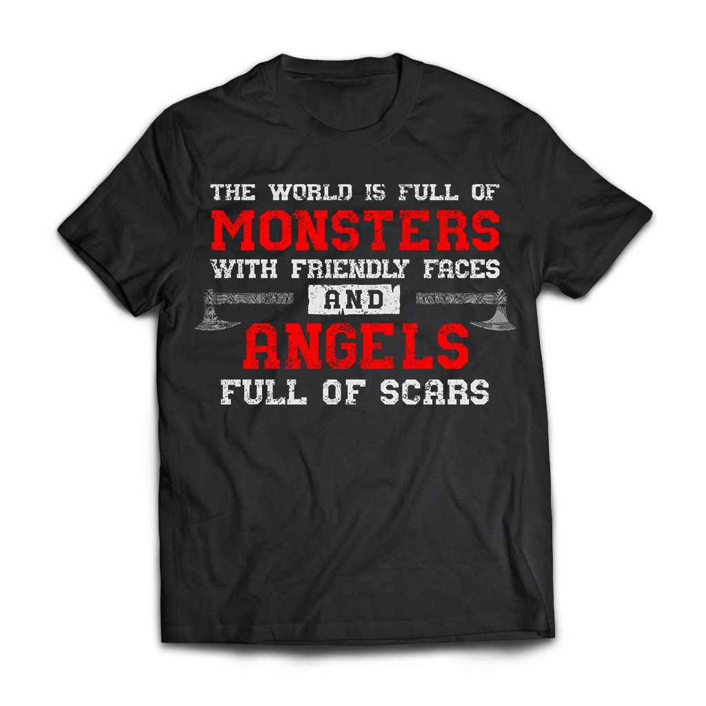 Viking, Norse, Gym t-shirt & apparel, Monsters, Angels, frontApparel[Heathen By Nature authentic Viking products]Next Level Premium Short Sleeve T-ShirtBlackX-Small