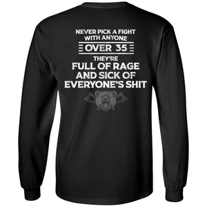 Viking, Norse, Gym t-shirt & apparel, Never pick a fight with anyone over 35, BackApparel[Heathen By Nature authentic Viking products]Long-Sleeve Ultra Cotton T-ShirtBlackS