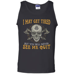 Viking, Norse, Gym t-shirt & apparel, never see me quit, frontApparel[Heathen By Nature authentic Viking products]Cotton Tank TopBlackS
