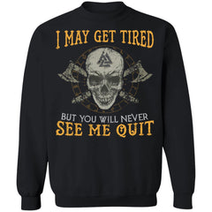 Viking, Norse, Gym t-shirt & apparel, never see me quit, frontApparel[Heathen By Nature authentic Viking products]Unisex Crewneck Pullover SweatshirtBlackS