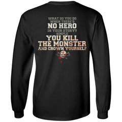 Viking, Norse, Gym t-shirt & apparel, No Hero, BackApparel[Heathen By Nature authentic Viking products]Long-Sleeve Ultra Cotton T-ShirtBlackS