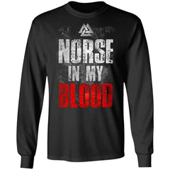 Viking, Norse, Gym t-shirt & apparel, Norse In My Blood, FrontApparel[Heathen By Nature authentic Viking products]Long-Sleeve Ultra Cotton T-ShirtBlackS