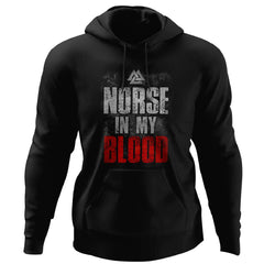 Viking, Norse, Gym t-shirt & apparel, Norse In My Blood, FrontApparel[Heathen By Nature authentic Viking products]Unisex Pullover HoodieBlackS