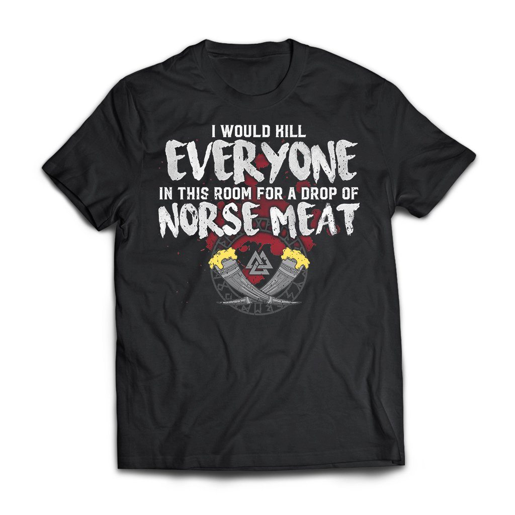Viking, Norse, Gym t-shirt & apparel, Norse Meat, FrontApparel[Heathen By Nature authentic Viking products]Next Level Premium Short Sleeve T-ShirtBlackX-Small