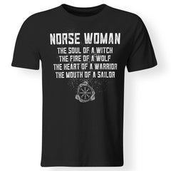 Viking, Norse, Gym t-shirt & apparel, Norse Woman, FrontApparel[Heathen By Nature authentic Viking products]Gildan Premium Men T-ShirtBlack5XL