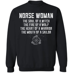 Viking, Norse, Gym t-shirt & apparel, Norse Woman, FrontApparel[Heathen By Nature authentic Viking products]Unisex Crewneck Pullover SweatshirtBlackS