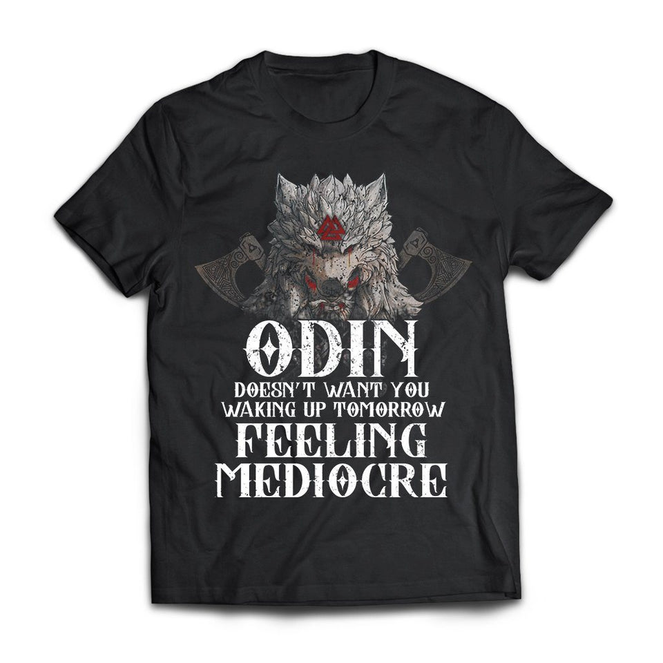 Viking, Norse, Gym t-shirt & apparel, Odin doesn't want you waking up, FrontApparel[Heathen By Nature authentic Viking products]Next Level Premium Short Sleeve T-ShirtBlackX-Small