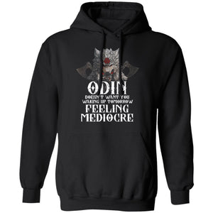 Viking, Norse, Gym t-shirt & apparel, Odin doesn't want you waking up, FrontApparel[Heathen By Nature authentic Viking products]Unisex Pullover Hoodie 8 oz.BlackS
