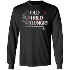 Viking, Norse, Gym t-shirt & apparel, Old Tired Hungry, FrontApparel[Heathen By Nature authentic Viking products]Long-Sleeve Ultra Cotton T-ShirtBlackS