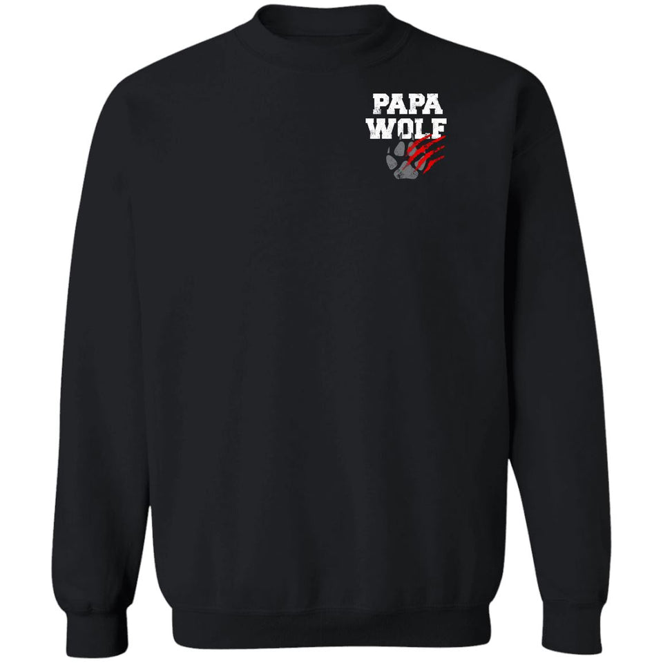 Viking, Norse, Gym t-shirt & apparel, Papa Wolf, Circus, Double sidedApparel[Heathen By Nature authentic Viking products]Unisex Crewneck Pullover SweatshirtBlackS