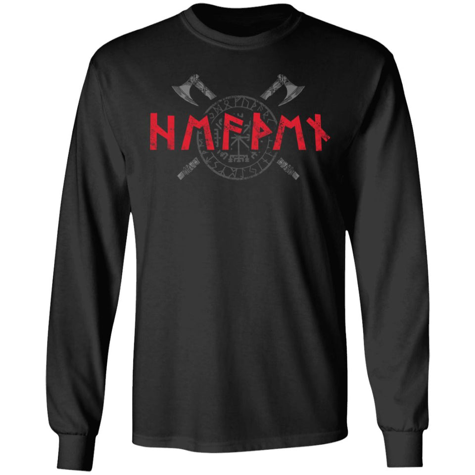 Viking, Norse, Gym t-shirt & apparel, Runes, FrontApparel[Heathen By Nature authentic Viking products]Long-Sleeve Ultra Cotton T-ShirtBlackS