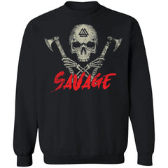 Viking, Norse, Gym t-shirt & apparel, Savage, frontApparel[Heathen By Nature authentic Viking products]Unisex Crewneck Pullover SweatshirtBlackS