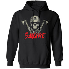 Viking, Norse, Gym t-shirt & apparel, Savage, frontApparel[Heathen By Nature authentic Viking products]Unisex Pullover HoodieBlackS