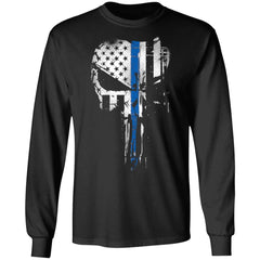 Viking, Norse, Gym t-shirt & apparel, Skull Thin Blue Line, FrontApparel[Heathen By Nature authentic Viking products]Long-Sleeve Ultra Cotton T-ShirtBlackS