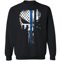 Viking, Norse, Gym t-shirt & apparel, Skull Thin Blue Line, FrontApparel[Heathen By Nature authentic Viking products]Unisex Crewneck Pullover Sweatshirt 8 oz.BlackS