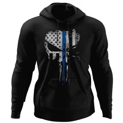 Viking, Norse, Gym t-shirt & apparel, Skull Thin Blue Line, FrontApparel[Heathen By Nature authentic Viking products]Unisex Pullover HoodieBlackS
