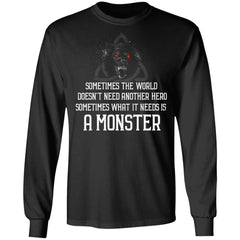Viking, Norse, Gym t-shirt & apparel, Sometimes the world doesn't need another hero, frontApparel[Heathen By Nature authentic Viking products]Long-Sleeve Ultra Cotton T-ShirtBlackS
