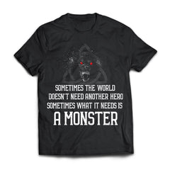 Viking, Norse, Gym t-shirt & apparel, Sometimes the world doesn't need another hero, frontApparel[Heathen By Nature authentic Viking products]Next Level Premium Short Sleeve T-ShirtBlackX-Small