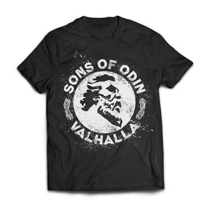 Viking, Norse, Gym t-shirt & apparel, Sons of Odin Valhalla, FrontApparel[Heathen By Nature authentic Viking products]Next Level Premium Short Sleeve T-ShirtBlackX-Small