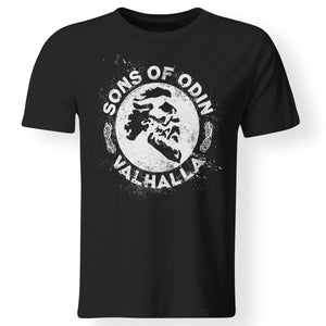 Viking, Norse, Gym t-shirt & apparel, Sons of Odin Valhalla, FrontApparel[Heathen By Nature authentic Viking products]Premium Men T-ShirtBlackS