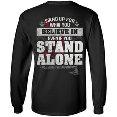 Viking, Norse, Gym t-shirt & apparel, Stand up for what you believe, BackApparel[Heathen By Nature authentic Viking products]Long-Sleeve Ultra Cotton T-ShirtBlackS