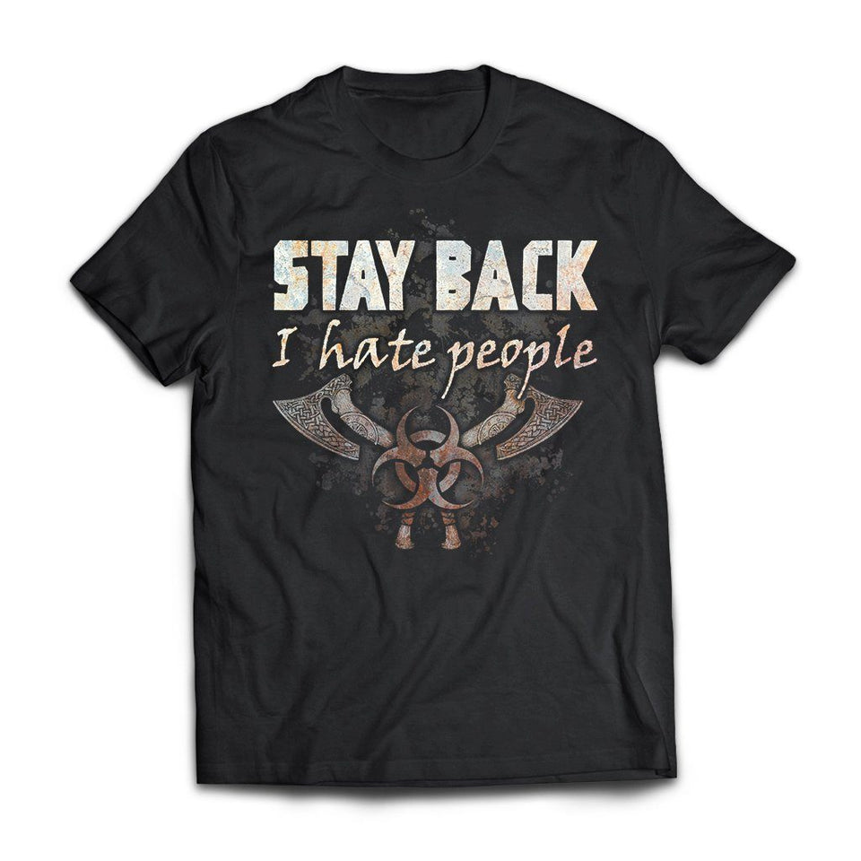 Viking, Norse, Gym t-shirt & apparel, Stay Back, FrontApparel[Heathen By Nature authentic Viking products]Next Level Premium Short Sleeve T-ShirtBlackX-Small