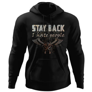 Viking, Norse, Gym t-shirt & apparel, Stay Back, FrontApparel[Heathen By Nature authentic Viking products]Unisex Pullover HoodieBlackS