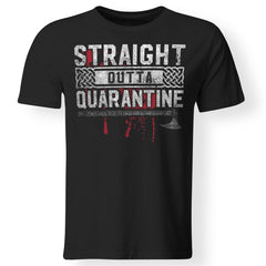 Viking, Norse, Gym t-shirt & apparel, Straight Outta Quarantine, FrontApparel[Heathen By Nature authentic Viking products]Gildan Premium Men T-ShirtBlack5XL