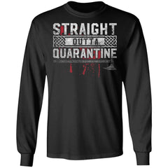 Viking, Norse, Gym t-shirt & apparel, Straight Outta Quarantine, FrontApparel[Heathen By Nature authentic Viking products]Long-Sleeve Ultra Cotton T-ShirtBlackS