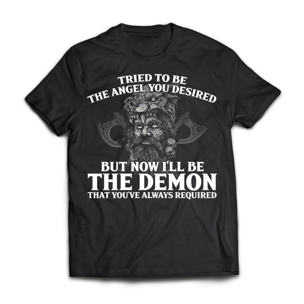 Viking, Norse, Gym t-shirt & apparel, The Demon, FrontApparel[Heathen By Nature authentic Viking products]Next Level Premium Short Sleeve T-ShirtBlackX-Small