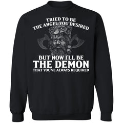 Viking, Norse, Gym t-shirt & apparel, The Demon, FrontApparel[Heathen By Nature authentic Viking products]Unisex Crewneck Pullover Sweatshirt 8 oz.BlackS