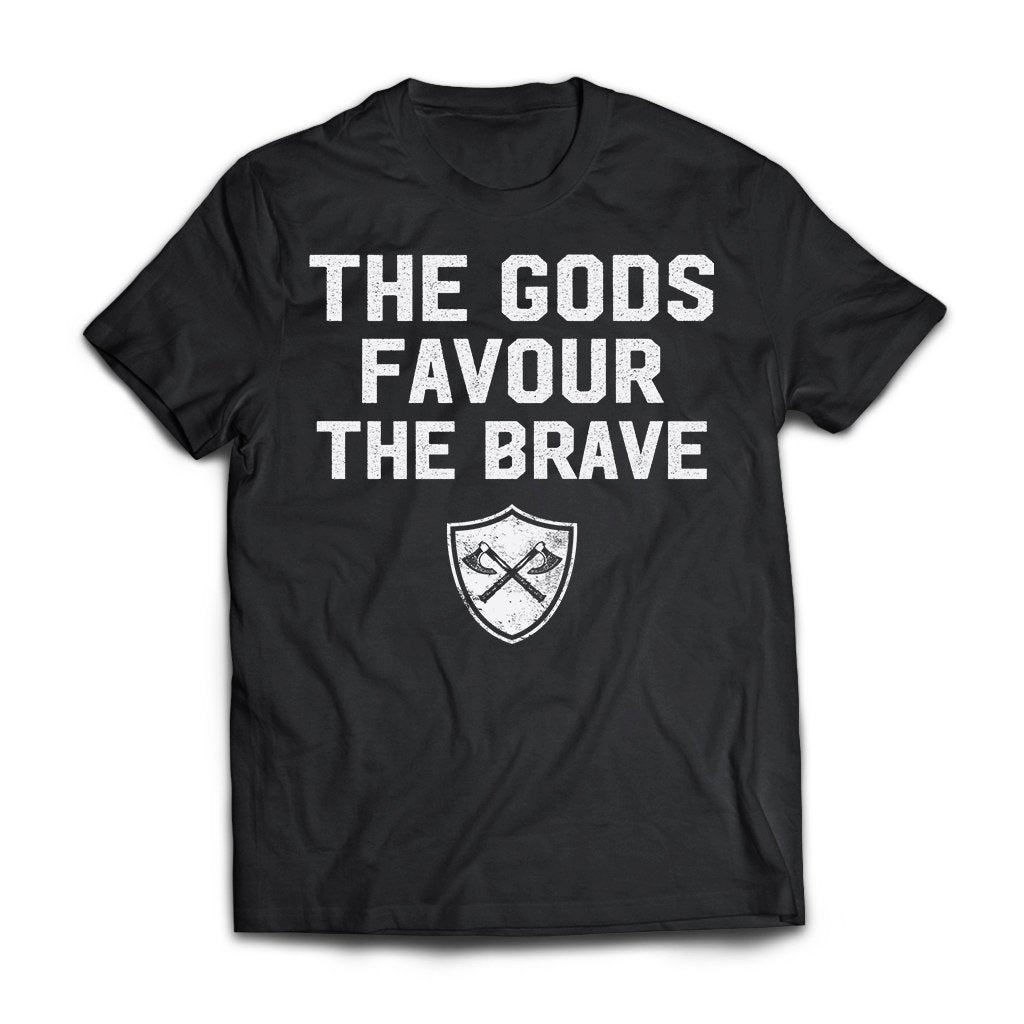 Viking, Norse, Gym t-shirt & apparel, The Gods favour the brave, FrontApparel[Heathen By Nature authentic Viking products]Next Level Premium Short Sleeve T-ShirtBlackX-Small