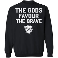 Viking, Norse, Gym t-shirt & apparel, The Gods favour the brave, FrontApparel[Heathen By Nature authentic Viking products]Unisex Crewneck Pullover SweatshirtBlackS