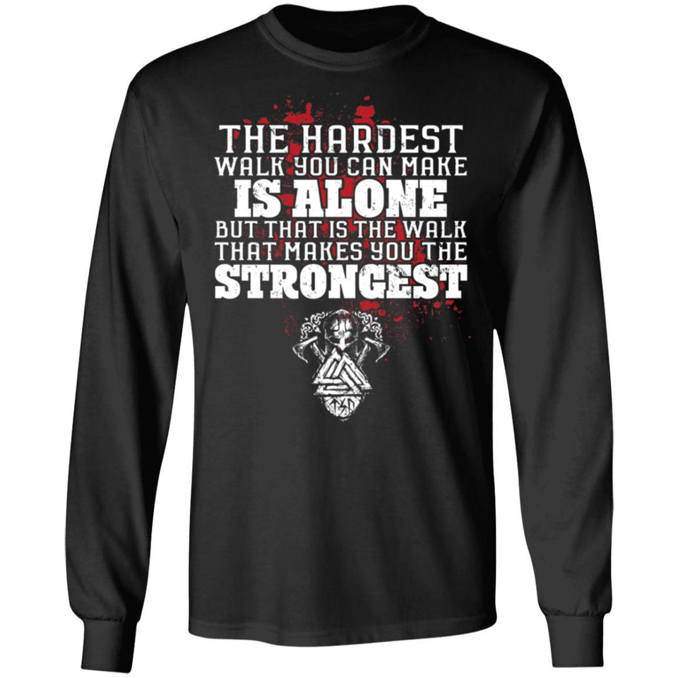 Viking, Norse, Gym t-shirt & apparel, The hardest walk you can make, FrontApparel[Heathen By Nature authentic Viking products]Long-Sleeve Ultra Cotton T-ShirtBlackS