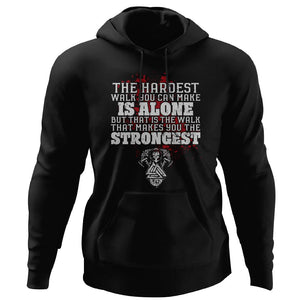 Viking, Norse, Gym t-shirt & apparel, The hardest walk you can make, FrontApparel[Heathen By Nature authentic Viking products]Unisex Pullover HoodieBlackS