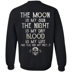 Viking, Norse, Gym t-shirt & apparel, The Moon, BackApparel[Heathen By Nature authentic Viking products]Unisex Crewneck Pullover SweatshirtBlackS