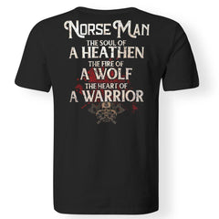 Viking, Norse, Gym t-shirt & apparel, The Norse Man, BackApparel[Heathen By Nature authentic Viking products]Gildan Premium Men T-ShirtBlack5XL
