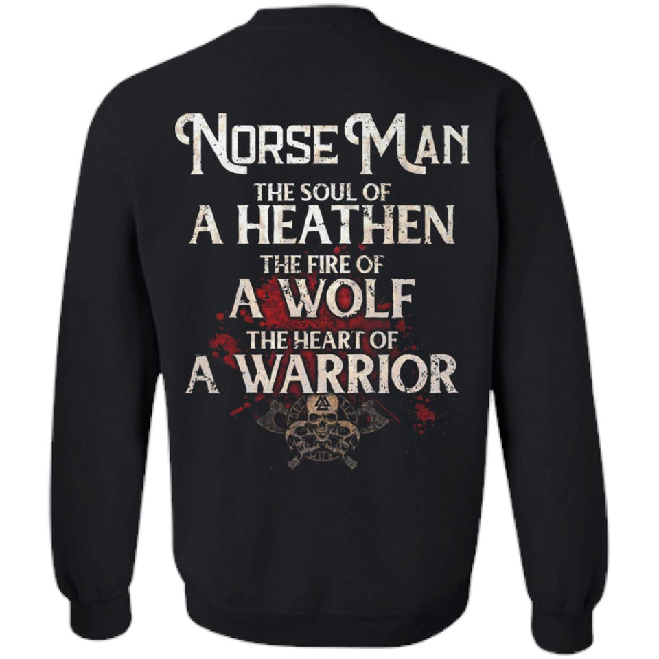 Viking, Norse, Gym t-shirt & apparel, The Norse Man, BackApparel[Heathen By Nature authentic Viking products]Unisex Crewneck Pullover SweatshirtBlackS